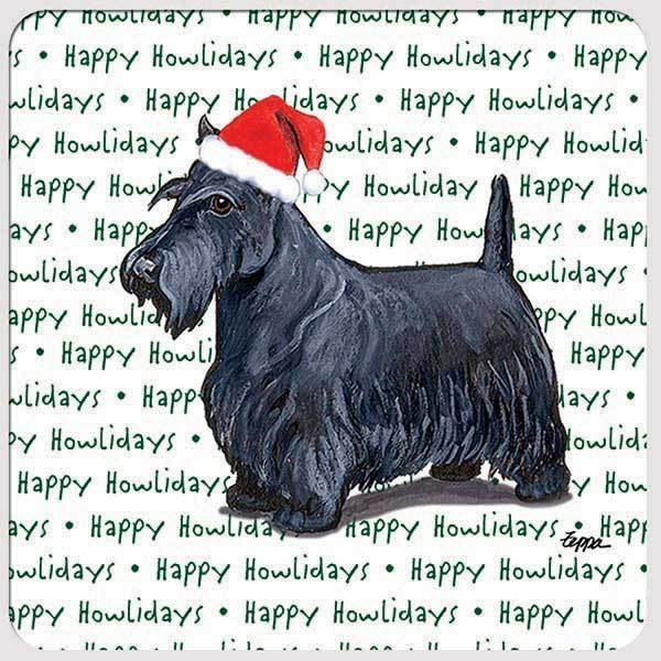 "Scottish Terrier ""Happy Howlidays"" Coaster"