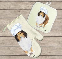 Shetland Sheepdog Oven Mitt and Pot Holder