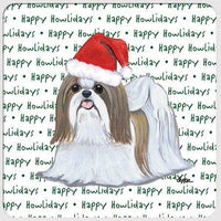 "Shih Tzu, Tan and White ""Happy Howlidays"" Coaster"