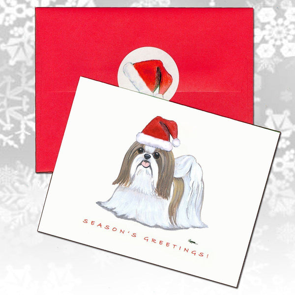 Shih Tzu, Tan and White Christmas Note Cards