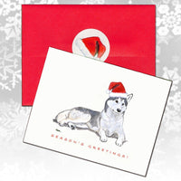Siberian Husky Christmas Note Cards