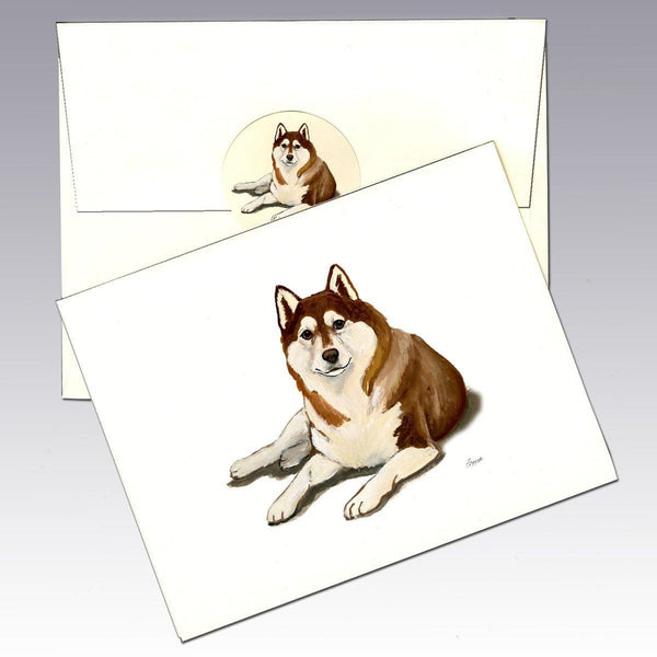 Siberian Husky, Brown and White Note Cards