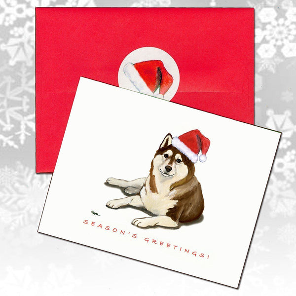 Siberian Husky, Brown and White Christmas Note Cards