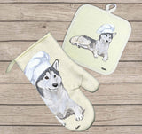 Siberian Husky Oven Mitt and Pot Holder