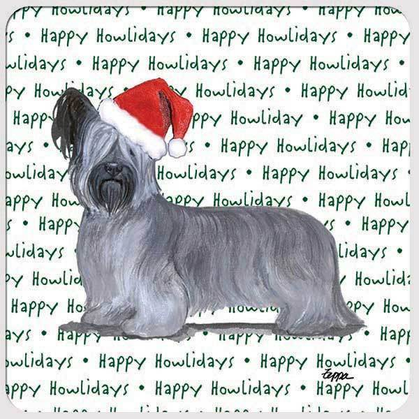 "Skye Terrier ""Happy Howlidays"" Coaster"