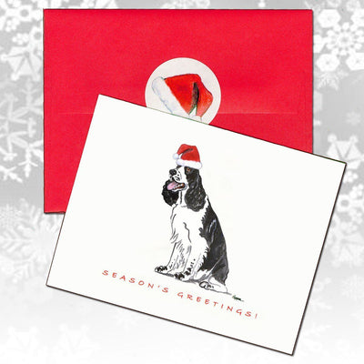 English Springer Spaniel, Black and White Christmas Note Cards