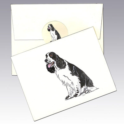English Springer Spaniel, Black and White Note Cards