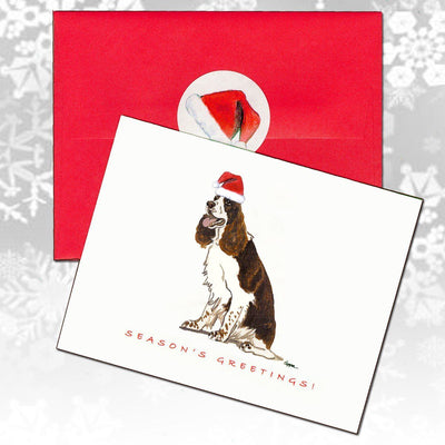 English Springer Spaniel, Liver and White Christmas Note Cards