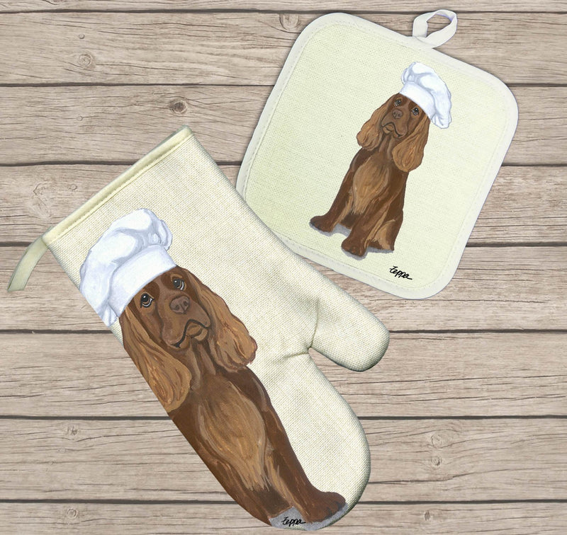 Sussex Spaniel Oven Mitt and Pot Holder