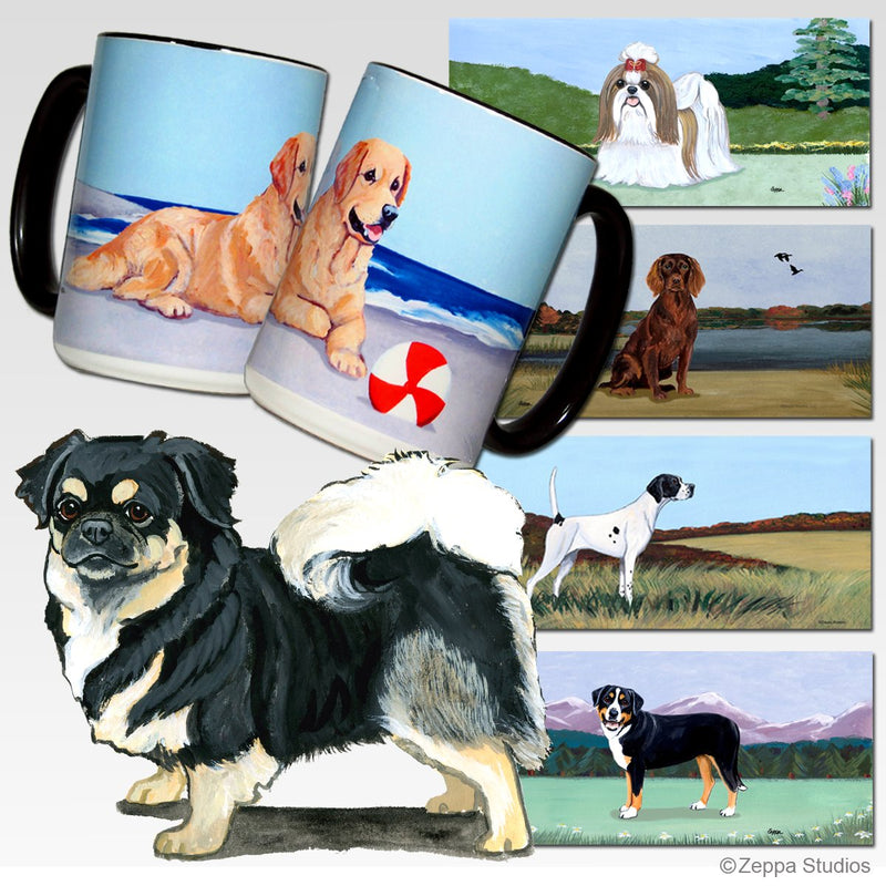 Tibetan Spaniel, Black and Tan Scenic Mug