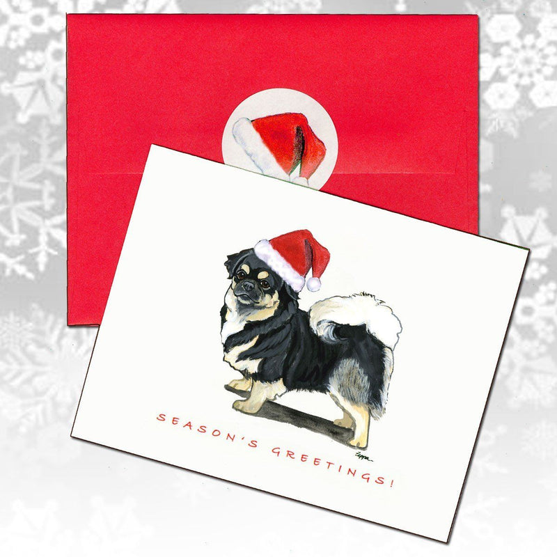Tibetan Spaniel, Black and Tan Christmas Note Cards
