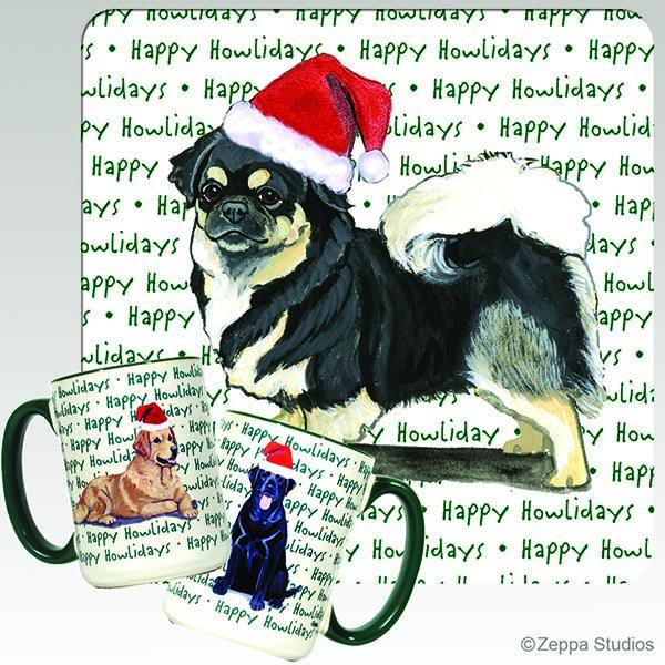 Tibetan Spaniel, Black and Tan Holiday Mug