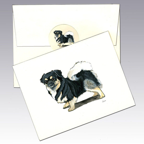 Tibetan Spaniel, Black and Tan Note Cards