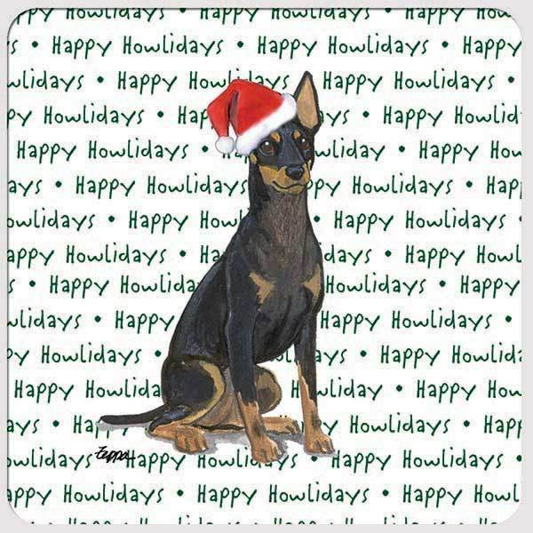 "Toy Manchester Terrier ""Happy Howlidays"" Coaster"