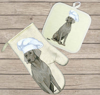 Weimaraner Oven Mitt and Pot Holder