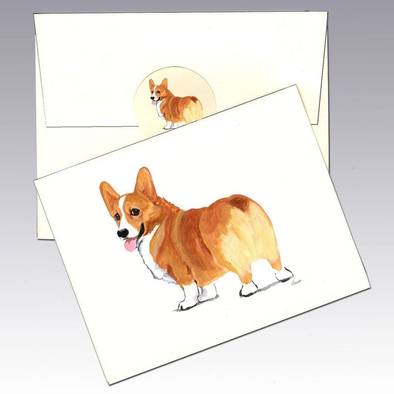 Pembroke Welsh Corgi, Red and White Note Cards