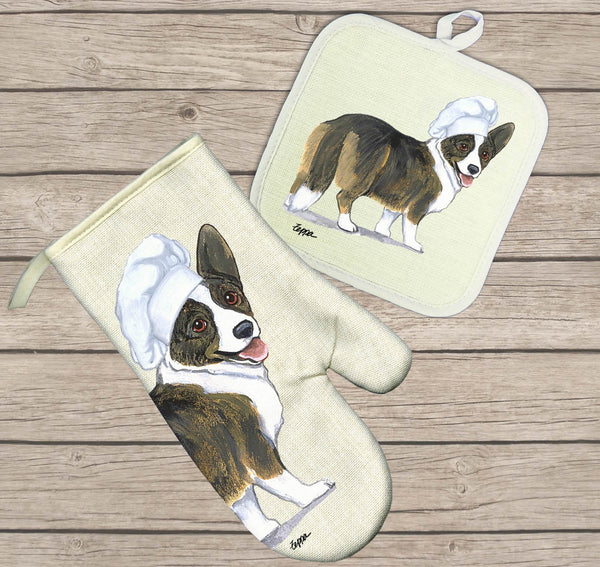 Cardigan Welsh Corgi Oven Mitt and Pot Holder