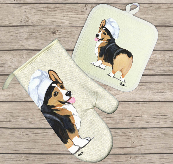 Pembroke Welsh Corgi Oven Mitt and Pot Holder
