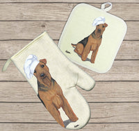 Welsh Terrier Oven Mitt and Pot Holder