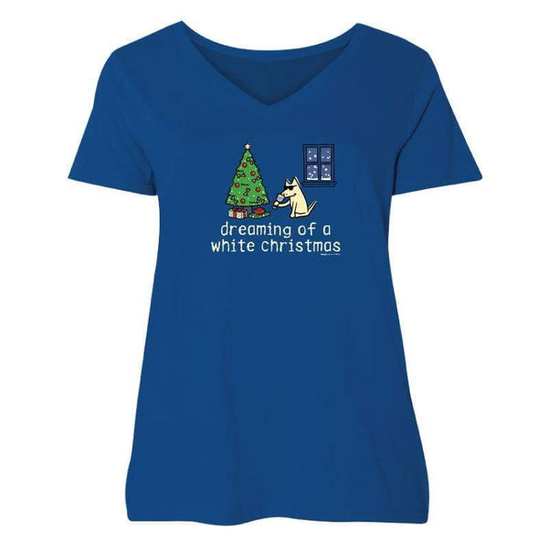 Dreaming Of A White Christmas - Ladies Curvy V-Neck Tee