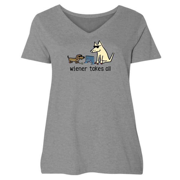 Wiener Takes All - Ladies Curvy V-Neck Tee