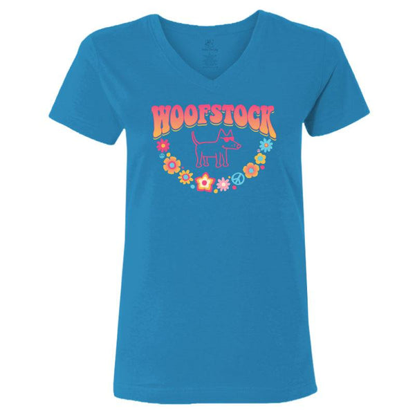 Woofstock - Ladies T-Shirt V-Neck