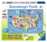 Ravensburger Children's Puzzles 24 pc Super Sized Floor Puzzles - USA Map 5385
