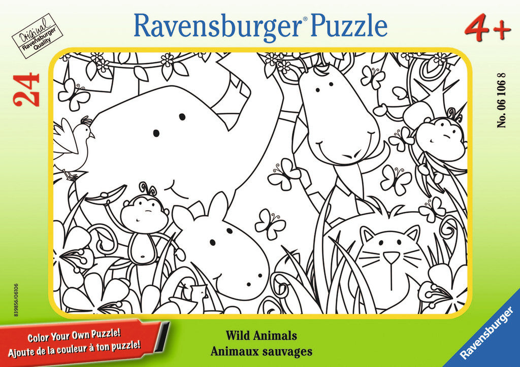Ravensburger Children's Puzzles Color Your Own Mini Frame Puzzles - Wild Animals (24 pc Puzzle) 6106