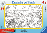 Ravensburger Children's Puzzles Color Your Own Mini Frame Puzzles - Ocean Life (24 pc Puzzle) 6107