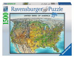 Ravensburger Adult Puzzles 1500 pc Puzzles - USA Map 16313