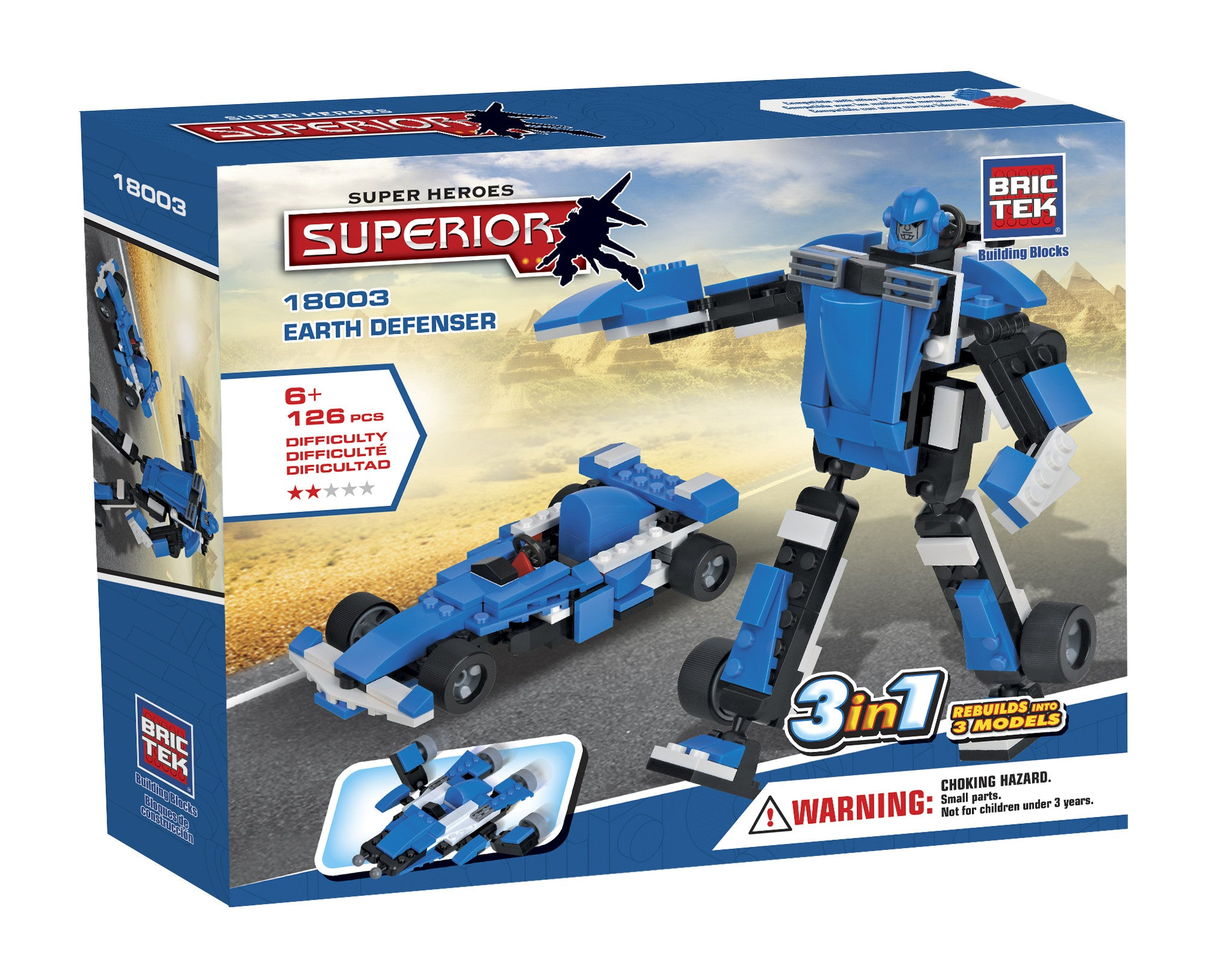 Brictek Building Blocks - Super Heroes 3 in 1 Earth Defenser 18003