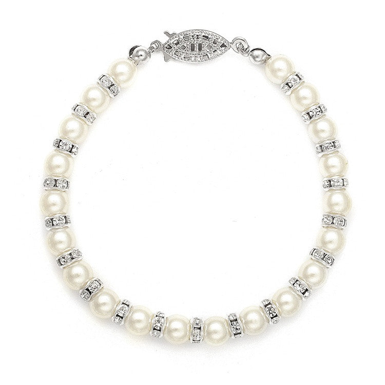Alternating Pearl and Rondelle Wedding Bracelet - Ivory 189B-I-S