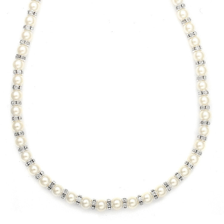 Alternating Pearl and Rondelle Wedding Necklace 189N