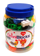 VIAHART 132 Piece OmniBlocks Interlocking Plastic Six Sided Building Blocks