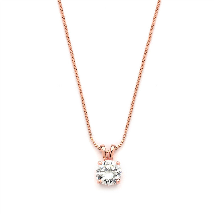 Delicate 14K Rose Gold CZ Round-Cut Necklace with Double Loop Top 2002N-RG