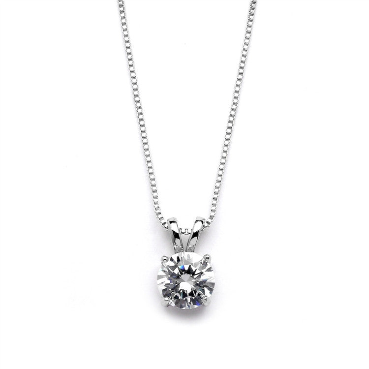 Delicate CZ Round-Cut Necklace with Double Loop Top 2002N-S