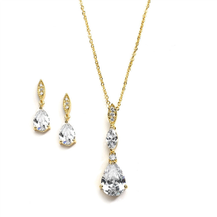 Bridal Necklace Set with Pave Top & Cubic Zirconia Pears 2030S