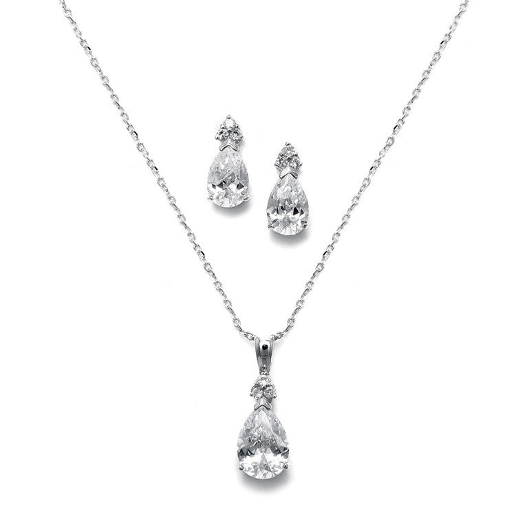 Bold Pear Solitaire Necklace and Earrings Set 2048S