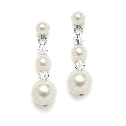 Graduated Pearl & Crystal Bridal Earrings