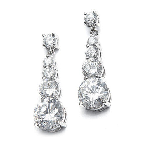 CZ Graduated Dangle Bridal Earrings 243E-CR