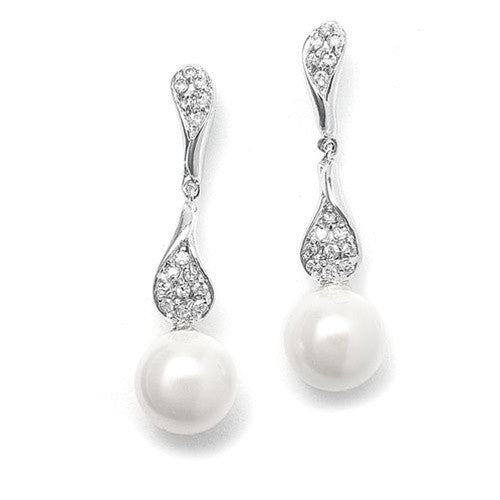 Curved CZ Pave Dangle Earrings with Pearl 3040E