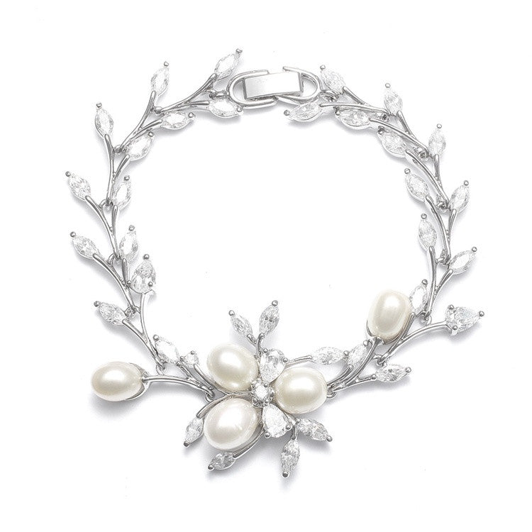 Freshwater Pearls in CZ Leaves Bracelet 3041B