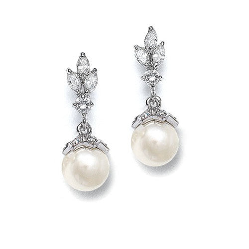 CZ Marquis Trio Earrings with Pearl Drop 304E-I-S