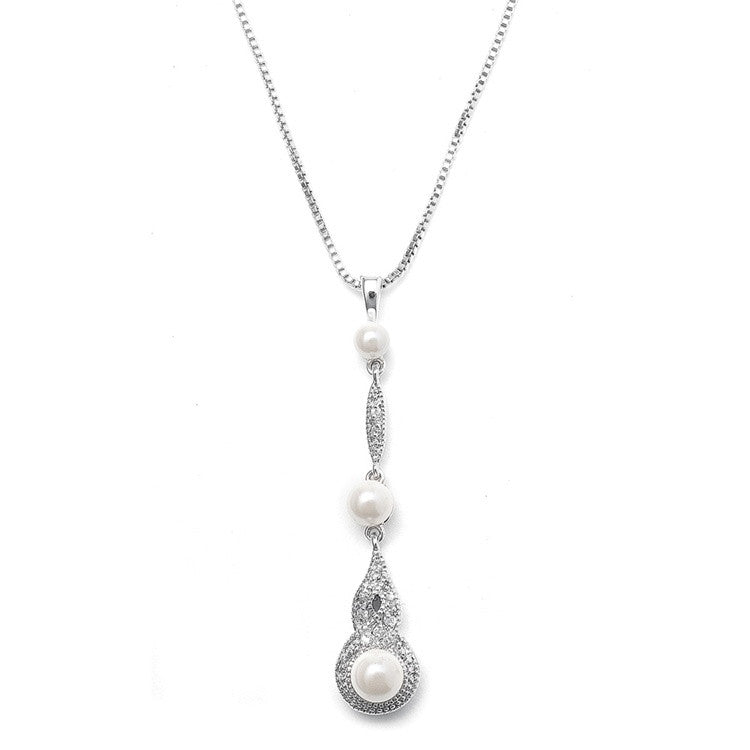 Braided CZ Pave Dangle Necklace with Pearl 3050N