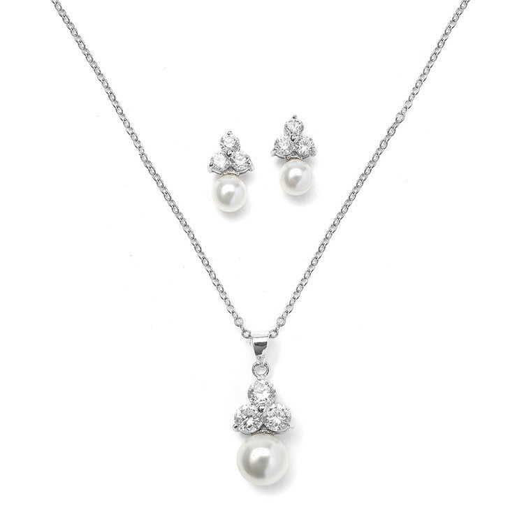 Bridal or Bridesmaid Necklace Set with Round CZ Trio 3052S