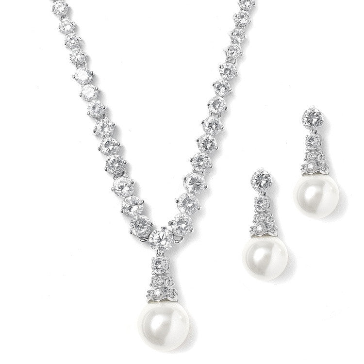 Bridal Necklace Set with Graduated CZ Rounds and Bold Pearl 3068S