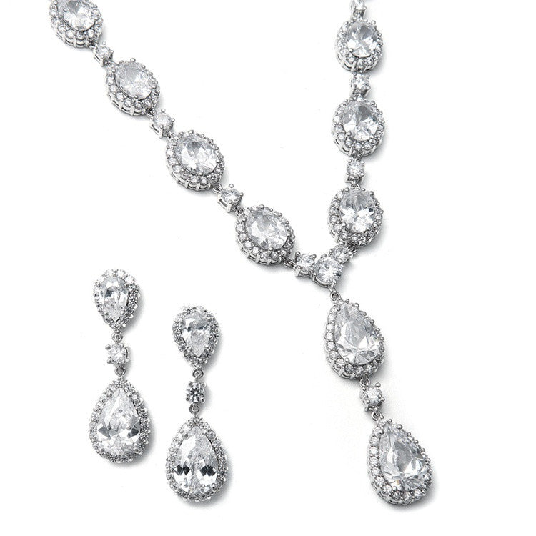 Bridal Necklace Set with Bold CZ Pears and Ovals 308S-CR