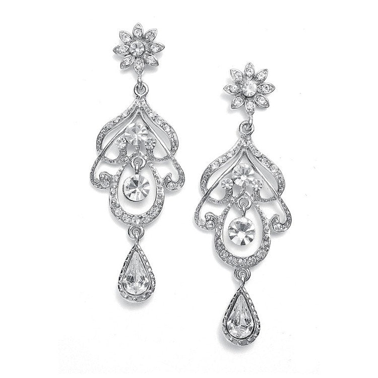 Abstract Wedding Chandelier Earrings 3128E