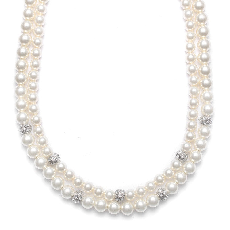 2-Row Ivory Pearl Bridal Neck with CZ Balls 3246N