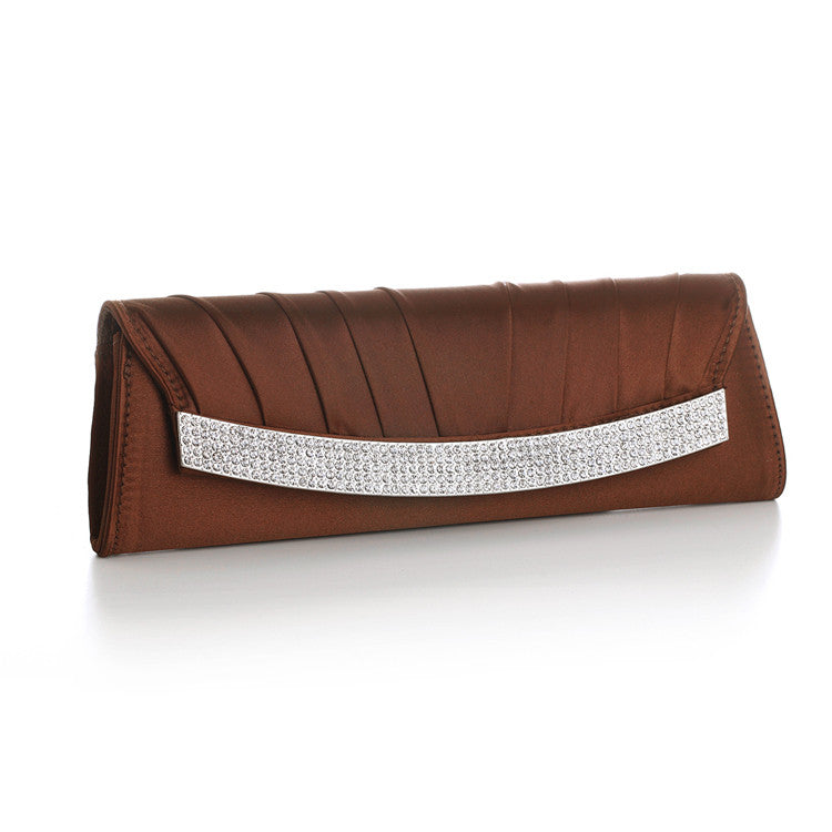 Brown Satin Evening Clutch Bag with Inlaid Crystals 3284EB-BR